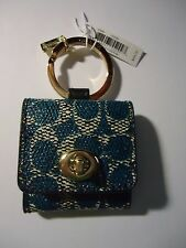 COACH SIGNATURE C TURNLOCK PICTURE FRAME KEY RING FOB BNWT TEAL
