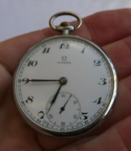 """RARE Vintage Authentic Omega Antique 1.75"""" Wind Up Pocket Watch 15 Jewels Swiss"""