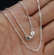 "Silver ""Water Wave"" Chain Necklace Pendant 5Pcs Wholesale 18inch Jewelry Lot 925"