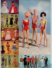 1964 PAPER AD 4 PG Barbie Doll Ken Midge Bride's Gown Wedding Dress Bathing Suit