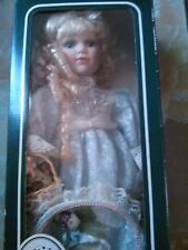 """Geppeddo Porcelain Doll 17"""" Denise - New in Original Box with Hat and Basket"""