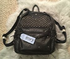 NWT ENVY Rock Black Gunmetal Silver Studded Soft Faux Leather Backpack Bag Purse