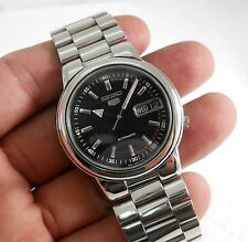 LATEST SEIKO 5 AUTOMATIC WIND BLACK DIAL SEE THROUGH MENS WATCH BIG 36MM