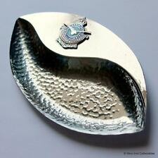 RAF Cranwell Badge Chrome Plated Enamel Pin Dish - Royal Air Force Kings Crown