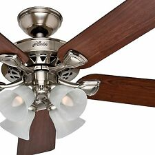 "Hunter 52"" Traditional Large Room Brushed Nickel Finish Ceiling Fan with lights"