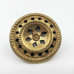 Antique Victorian Edwardian Pierced Flower Button