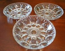 3 Clear Glass Candy Dish Vtg Circles Floral Fruit Berry Bowls