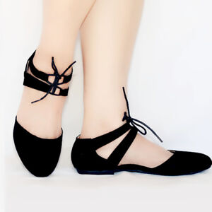 New Women Mary Jane Ballet Flat  Lace Up Ankle Strap Shoes Black,Taupe #2591