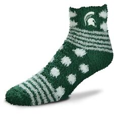 Michigan State Spartans NCAA For Bare Feet Homegator Green Fuzzy Socks