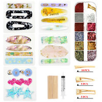 1Set Crystal Epoxy Resin Mold Hair Clip Barrette Hairpin Casting Silicone Mould