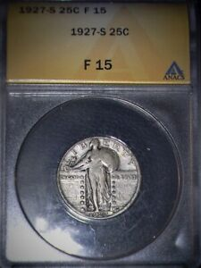 1927-S Standing Liberty Quarter, ANACS  F 15 , Key Date, Issue Free