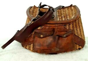 "Vintage Antique Wicker Rattan Fishing Creel Leather Straps Pouch Large 16""x10x6"""