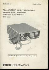 Original Factory Rca Co-Pilot 14T100 Cb Radio Owner's/Instruction Manual