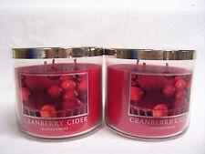 Bath & Body Works (2) CRANBERRY CIDER 3 Wick Jar Candles x 2 Slatkin & Co