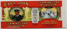 CAP'N JOHN Vintage Clam Bouillon Can Label Canada, **AN ORIGINAL TIN CAN LABEL**