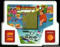 1987 TIGER MINIATURE GOLF ELECTRONIC HANDHELD LCD VIDEO GAME GOLF CLUB BALL TOY