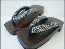 "JAPANESE MEN'S WOODEN GETA FLIP FLOPS SANDALS ""SHIBORI"" PATTERN / 8-9 1/2"