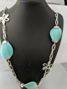 VINTAGE LARGE BEADS  FAUX TURQUOISE , CHAIN NECKLACE  LENGTH - 90 CM