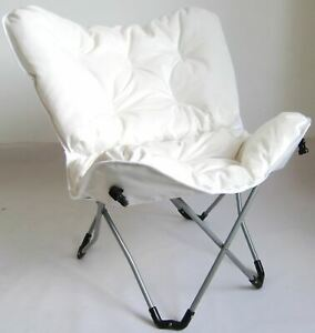 Zenithen Butterfly Chair with High Gloss Silver Frame in White Tufted Velvet Fab