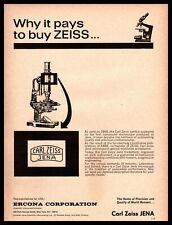 1966 Carl Zeiss JENA Scientific Microscope Ercona Corporation Vintage Print Ad