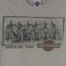 harley davidson men M Amsterdam t-shirt double sided print wrecking crew beige