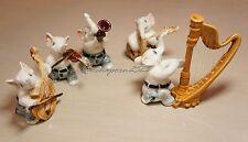 Elephant Music Band Ceramic Pottery Statue Animal Miniature Figurine#8