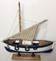 Large Trawler Wooden Model Fishing Boat with a Net, Tyres and Anchor On a Stand