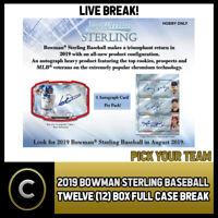 2019 BOWMAN STERLING BASEBALL 12 BOX (FULL CASE) BREAK #A404 - PICK YOUR TEAM