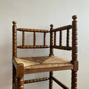 Early 20th century Dutch bobbin Spindle chair with rush seat