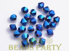 New 100pcs 4mm Bicone Faceted Crystal Glass Loose Spacer Beads Bulk Blue Plated