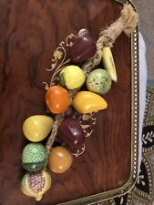 Decorative Ceramic Hanging Hand Painted Fruit on a Rope 11 Pieces of Fruit