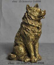 Chinese copper brass zodiac Police Dog Canine animal beast art statue sculpture