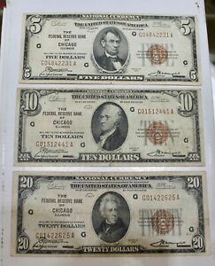 5.00 10.00 20.00 1929 Chicago Federal Note Lot