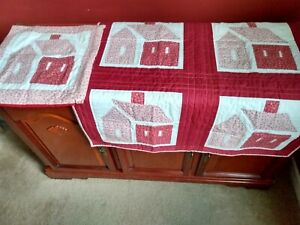 """Handmade 32"""" x 32""""  Lap Quilt & 16"""" Pillow Cover, Maroon and White  """"Home"""" logo"""