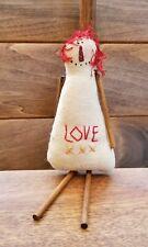 Handmade Primitive Raggedy Ann Ornament Doll Miniature Folk Art Raggedy