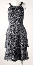 NWT ELLEN TRACY 100% SILK TIERED KNEE LENGTH SCARF DRESS BLACK WHITE $140 SIZE 4