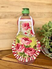 Cottage Pink Red Rose Ruffle Kitchen Dish Soap Bottle Apron - fits 25 oz