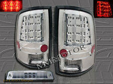 09-15 DODGE RAM 1500 2500 3500 LED TAIL LIGHTS + L.E.D 3rd BRAKE LIGHT CLEAR