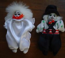 """2X Porcelain Collectible Clown Dolls With A Ceramic Heads 5"""""""