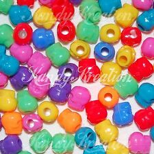 500 Rainbow Skull Pony Beads for Kandi Rave Crafts Halloween Day of the dead Kid
