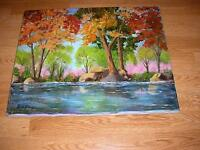 VINTAGE YELLOW ORANGE RED GREEN PINK TREES POND REFLECTIONS LANDSCAPE PAINTING
