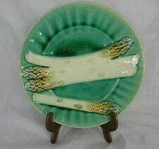One Antique French Majolica Asparagus Plate Luneville  K&G Signed  1850s