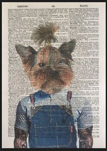 Hipster Dog Print Vintage Dictionary Page Wall Art Picture Barbers Top Knot