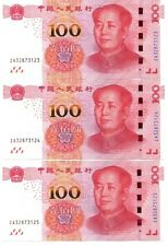 CHINA ¥¥¥100 (2015) x 3 Consecutive Nos. Unc ZA Replacement Notes