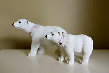 Polar Bear Figurines Mom Walking With Cub Resin Northern Bears Gem Necklace New