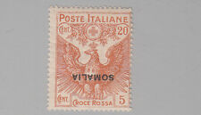 SOMALIA 1916 CROCE ROSSA  L. 20 + 5  Varieta' NUOVA SOVRASTAMPA CAPOVOLTA FOTO