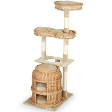 Cat Tree Scratching Post Sisal Kitten Play Tower Twin Double Basket Cave 135 cm
