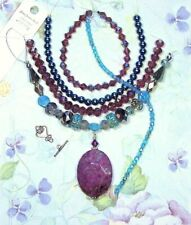 BEAD LOT Jesse James Purple, Turquoise. Faceted Stone Pendant Jewelry Making Kit