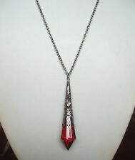 "Victorian Gothic Red Pendulum Teardrop Black Filigree Pendant 30"" Long Necklace"