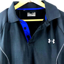 Under Armour Mens Cold Gear Regular Fit Ua Long Sleeve Polo Shirt Large Black